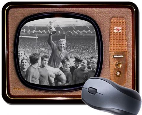 Vintage Television Mouse Mat World Cup 1966 Bobby Moore Mouse Pad TV England